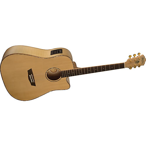 Washburn WD45SCE Solid Sitka Spruce Top Acoustic Cutaway Electric Dreadnought Flame Maple Guitar with Fishman Preamp And Tuner