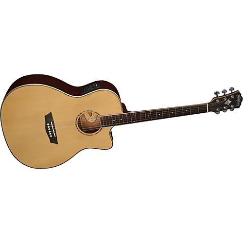 Washburn WG25SCE Solid Sitka Spruce Top Acoustic Cutaway Electric Grand Auditorium Rosewood Guitar with Fishman Preamp And Tuner