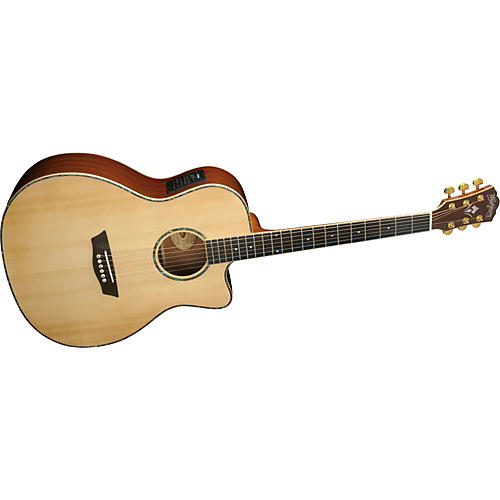 Washburn WG55SCE Solid Sitka Spruce Top Acoustic Cutaway Electric Grand Auditorium Koa Guitar with Fishman Preamp And Tuner