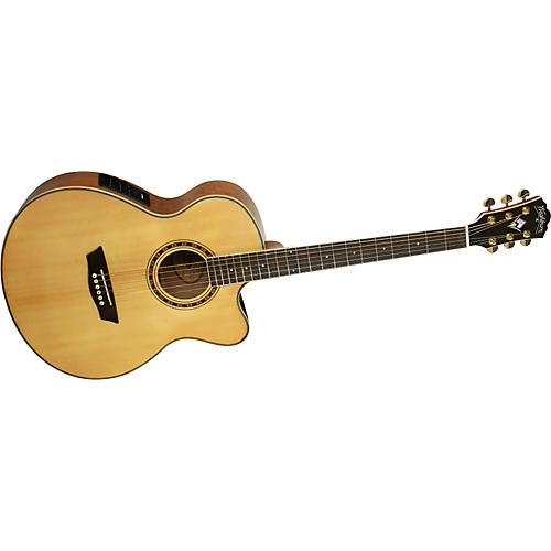 Washburn WMJ30SCE Solid Sitka Spruce Top Acoustic Cutaway Electric Mini Jumbo Tamo Ash Guitar with Fishman Preamp And Tuner-thumbnail