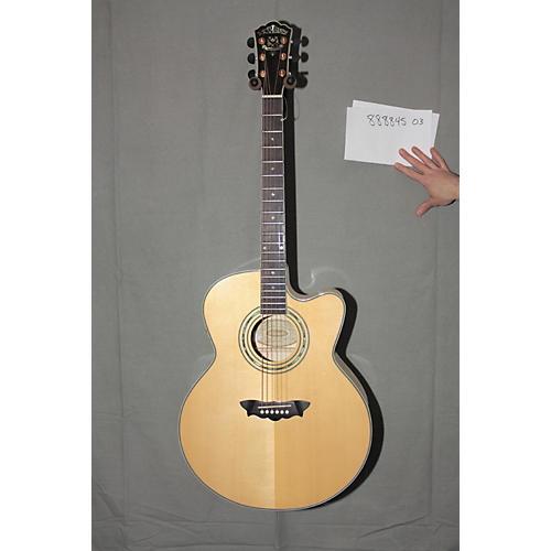 Used Washburn J28SCEDL Jumbo Cutaway Acoustic-Electric Guitar in Natural Finish-thumbnail