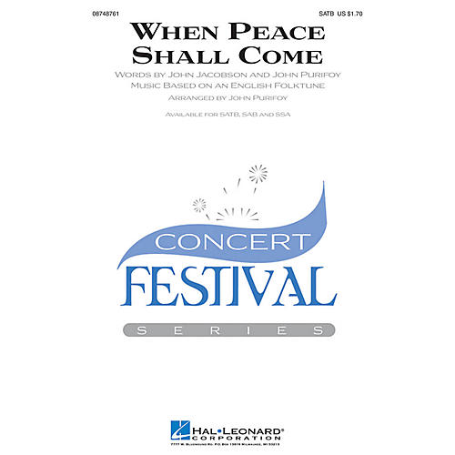 Hal Leonard When Peace Shall Come SAB Arranged by John Purifoy