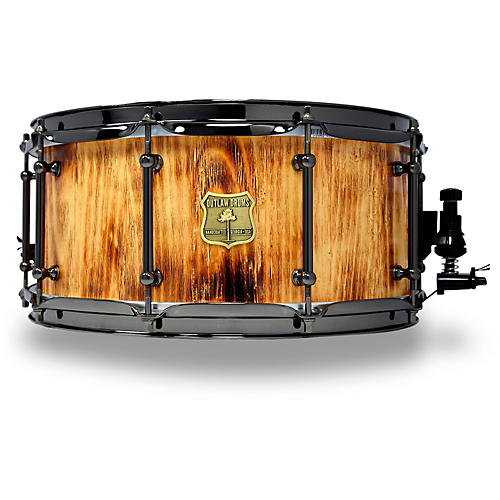 OUTLAW DRUMS White Pine Stave Snare Drum with Black Chrome Hardware-thumbnail