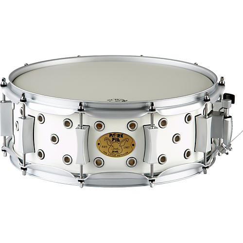 Pork Pie White Satin Little Squealer Snare Drum-thumbnail