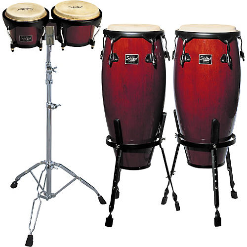 Schalloch Wine Red Conga/Bongo Set with Stands-thumbnail