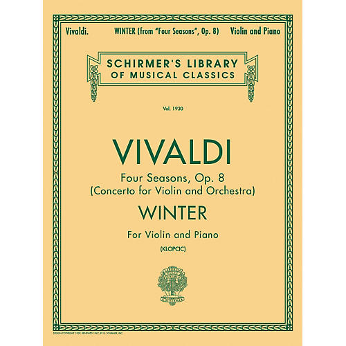 G. Schirmer Winter From Four Seasons Violin / Piano Op 8 By Vivaldi