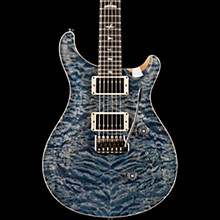 PRS Wood Library Custom 24 Carved Quilted Maple 10 Top Electric Guitar Faded Whale Blue with Natural Back