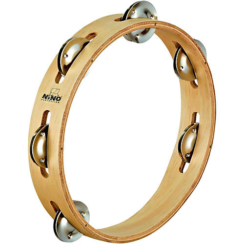 Nino Wood Tambourine 1 Row Natural 8 in.