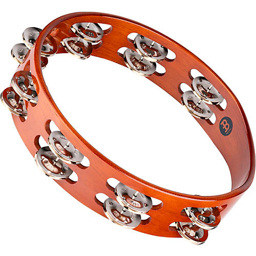 Meinl Wood Tambourine Two Rows Steel Jingles-thumbnail