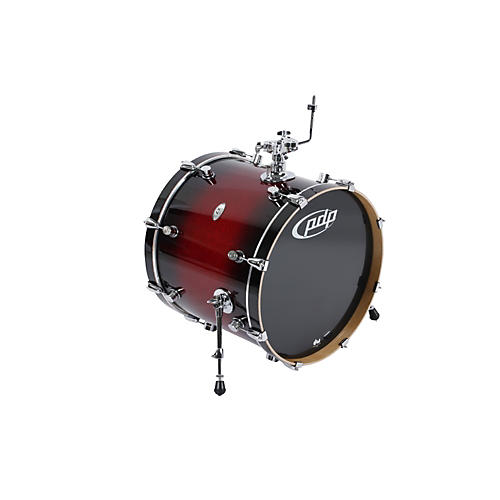 PDP X7 Maple Bass Drum Red to Black Fade 18x22