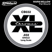 "D'Addario XL Chromes CB032 Single Flat Wound .032"" Long Scale Bass String"