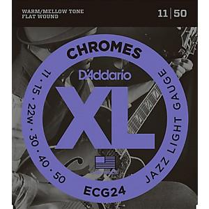 Daddario XL Chromes Jazz Light Electric Guitar Strings ECG24 Flatwound by D'Addario
