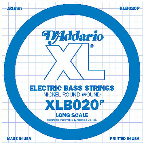 D'Addario XLB020P Electric Bass Nickel Single String