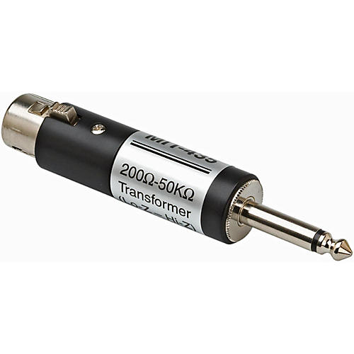 Hosa XLR Female LO-Z to 1/4in TS Male HI-Z Microphone Input Impedance Transformer-thumbnail