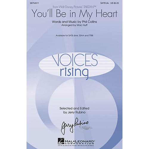 Hal Leonard You'll Be in My Heart (from Tarzan) TTBB by Phil Collins Arranged by Mac Huff