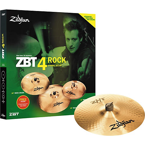 Zildjian ZBT 4 Rock Cymbal Pack with Free ZHT Crash Cymbal-thumbnail