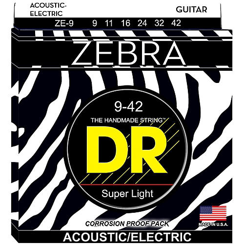 DR Strings Zebra Acoustic Electric Lite (9-42)-thumbnail