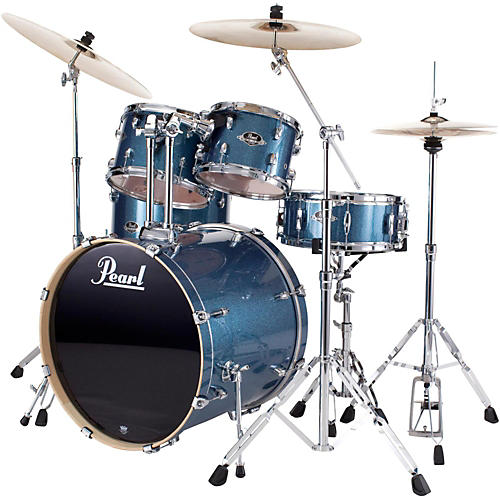 Pearl ePRO Powered by Export Acoustic Electric New Fusion Drumset Aqua Blue Glitter-thumbnail