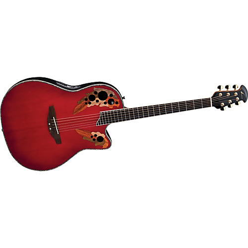 Ovation iDea Celebrity Acoustic-Electric Guitar with Built-In MP3 Recorder Cherry Burst