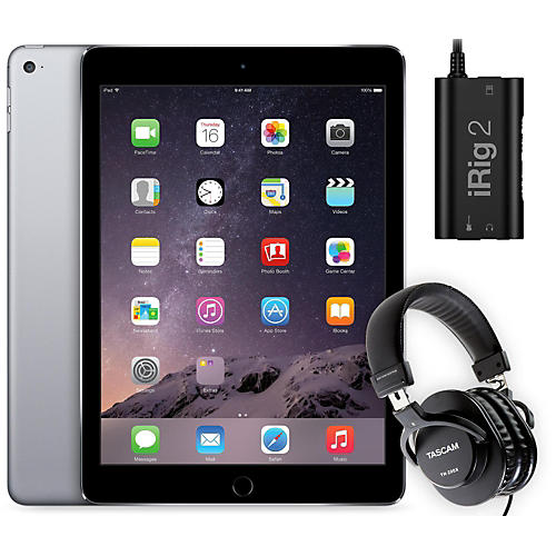 apple ipad air 2 16gb space grey with irig 2 and th 200x headphones guitar center. Black Bedroom Furniture Sets. Home Design Ideas