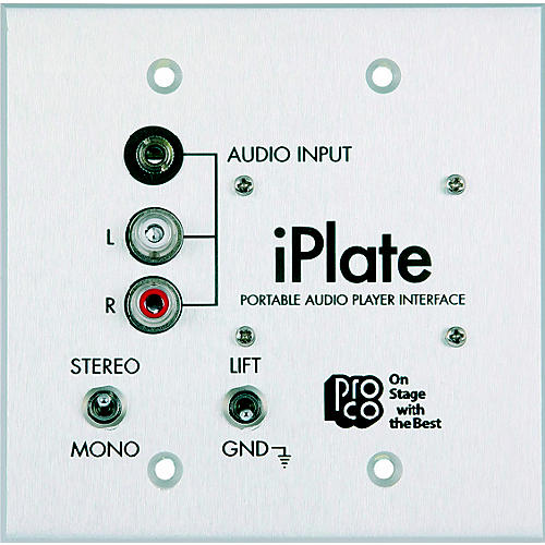 Pro Co iPlate Portable Audio Player Interface Wallplate