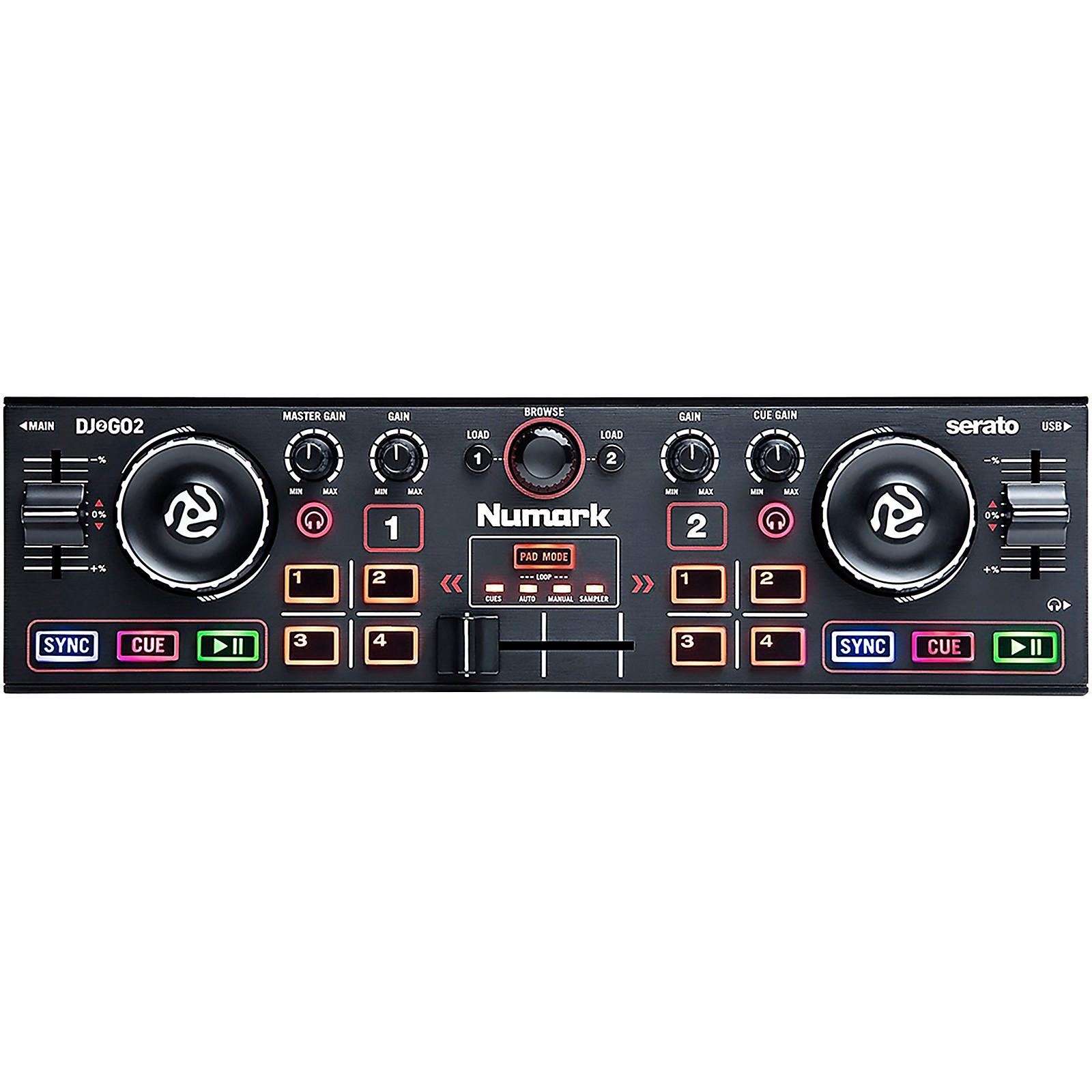 Numark DJ2GO2 Touch Bundle Audio Interface and DJ Headphones Compact 2 Deck USB DJ Controller For Serato DJ with a Mixer//Crossfader