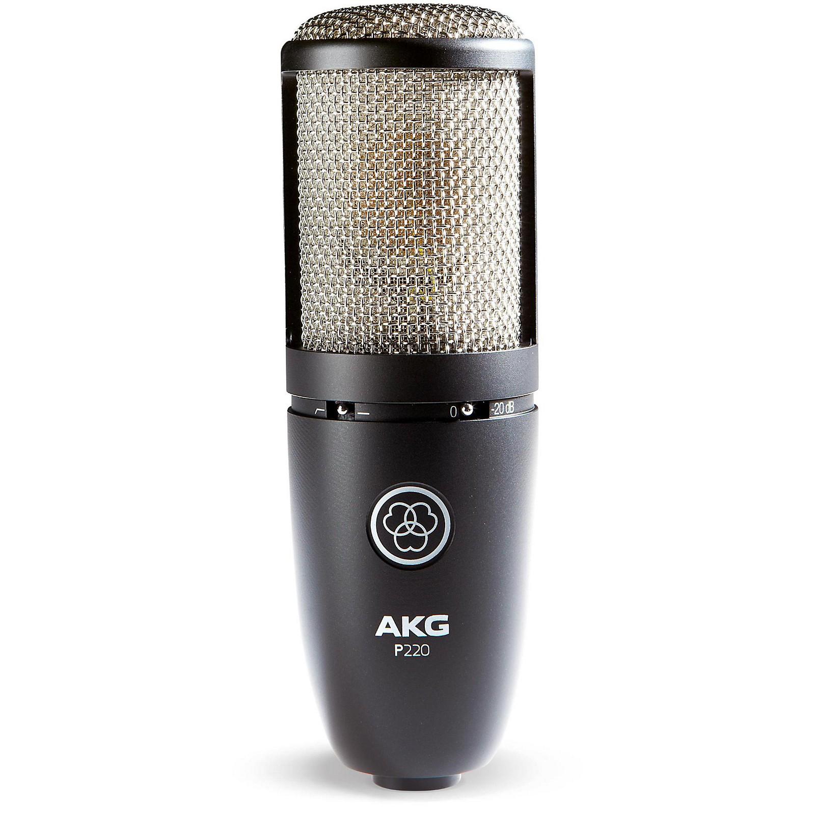 AKG Acoustics Project Studio P220 Large Diaphragm Condenser Microphone with Vocal Recording Setup Kit