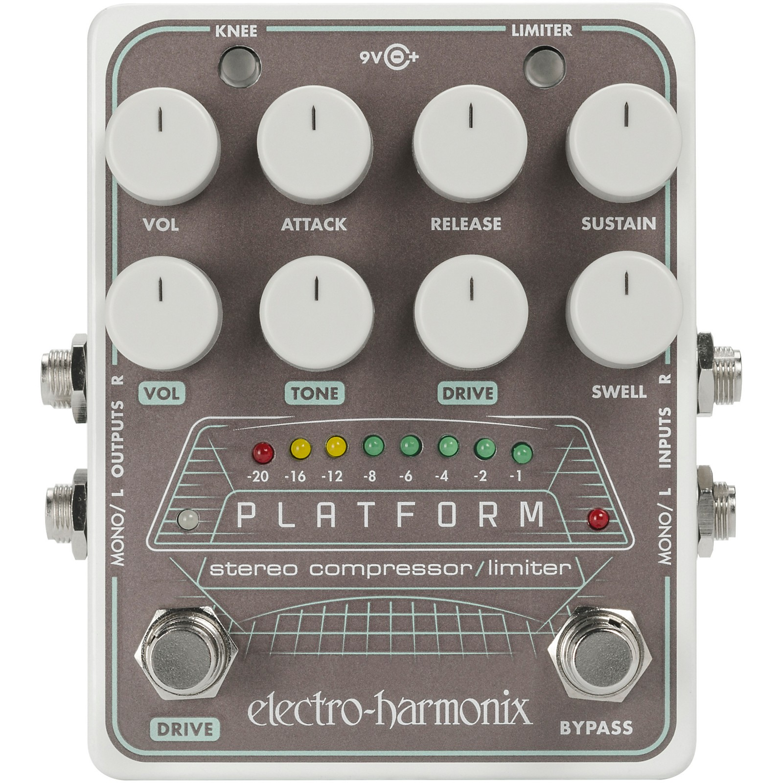 ELECTRO HARMONIX EHX PLATFORM STEREO COMPRESSOR LIMITER POWER SUPPLY ADAPTER 9V