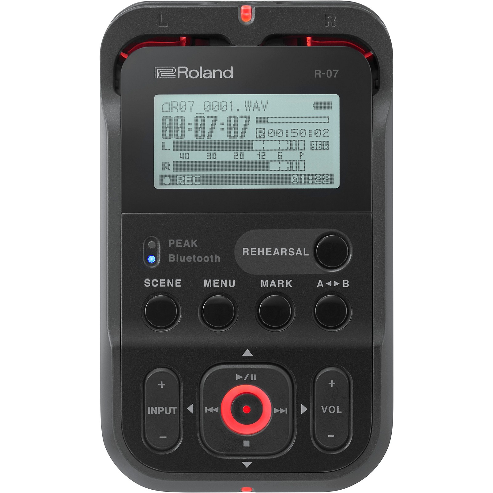 Roland R-07 High-Resolution Audio Recorder with Bluetooth in Black   Guitar  Center