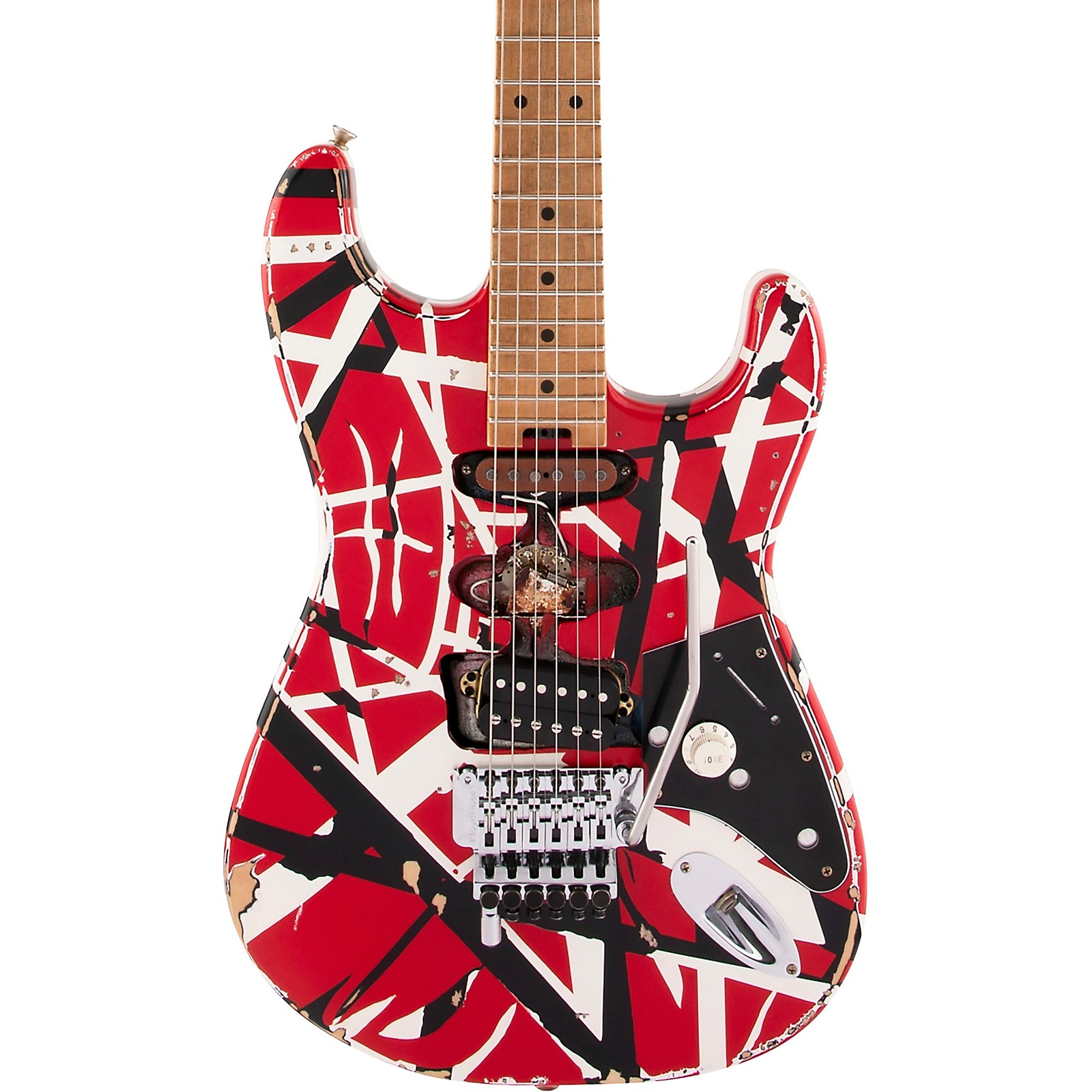 Evh Striped Series Frankie Electric Guitar Red With Black And White Stripes Relic Guitar Center