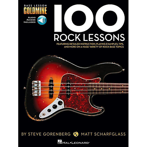 Hal Leonard 100 Rock Lessons - Bass Lesson Goldmine Series Book/Online Audio