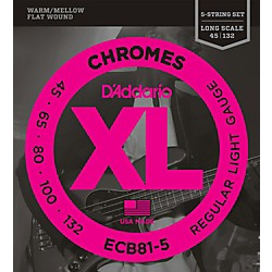D'addario Ecb81-5 Chromes Xl Flatwound Bass Strings Light Gauge