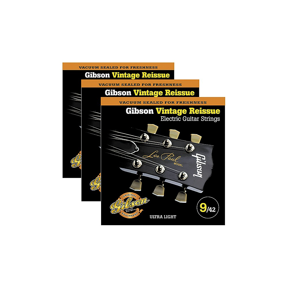 Gibson Vintage Reissue 3-Pack VR9 Electric Guitar Strings 1300744180588