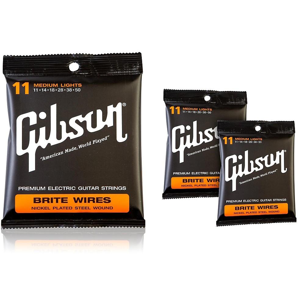 Gibson Brite Wires Medium Electric Guitar Strings (3-Pack) 1300744183566