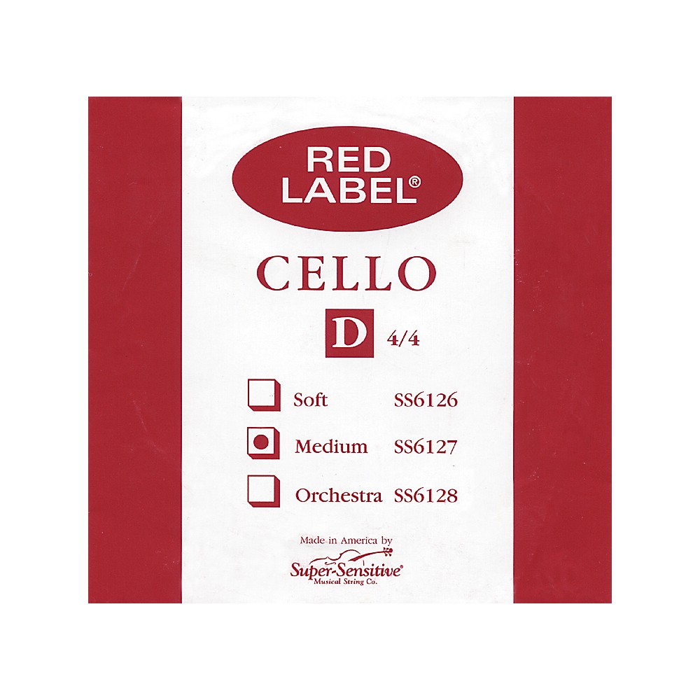 Super Sensitive Red Label Cello D String  4/4 1274228070696