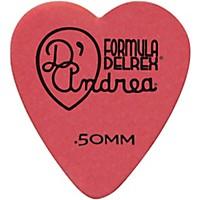D'andrea 323 Heart Delrex Delrin Picks One Dozen Red .50 Mm