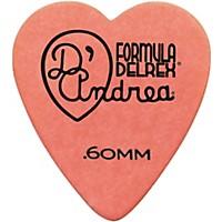 D'andrea 323 Heart Delrex Delrin Picks One Dozen Orange .60 Mm