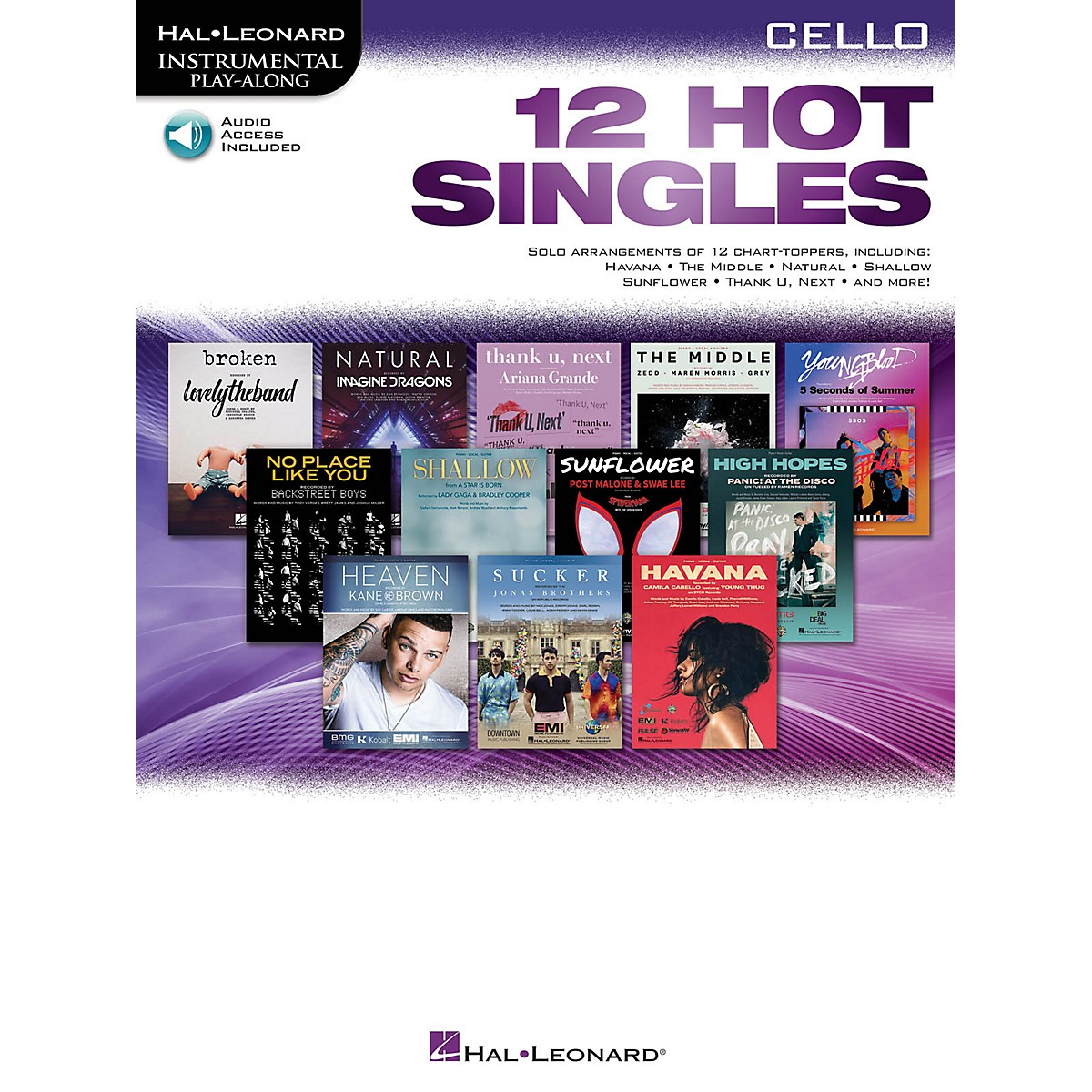 Hal Leonard 12 Hot Singles for Cello Instrumental Play-Along Book/Audio Online