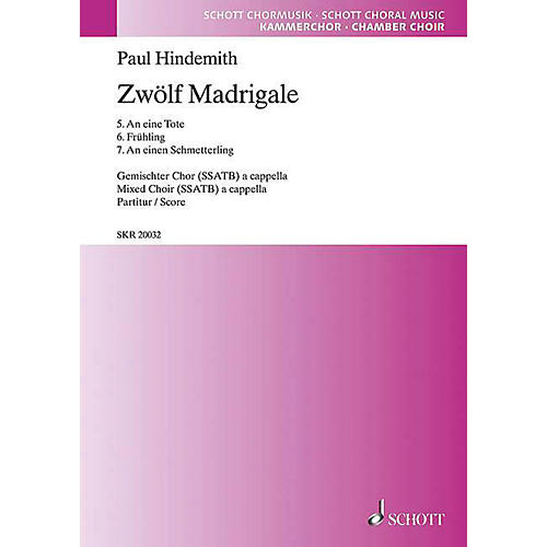 Schott 12 Madrigals, Volume 2 SSATB Composed by Paul Hindemith