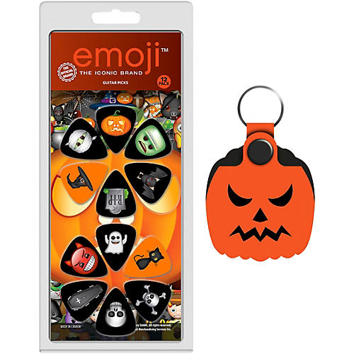 Perri's 12-Piece Emoji Halloween Guitar Pick Pack and Pumpkin Pick Holder Key Chain