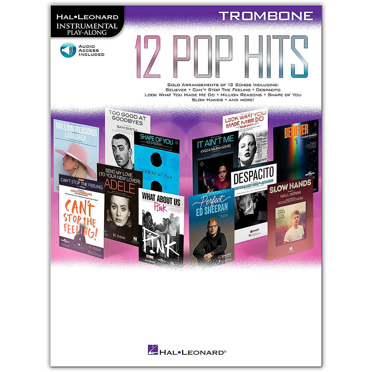 Hal Leonard 12 Pop Hits for Trombone Book/Audio Online