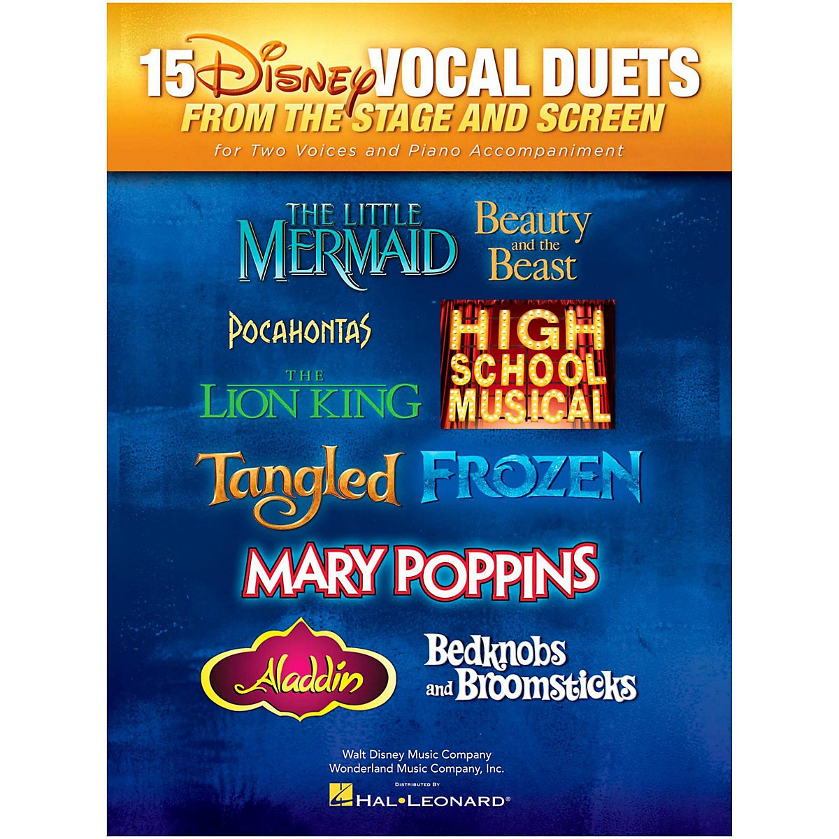 Hal Leonard 15 Disney Vocal Duets from Stage and Screen for 2 Voices And Piano Accompaniment