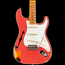 1956 Heavy Relic Thinline Stratocaster Electric Guitar Aged Coral Pink Over Choc 2-Tone Sunburst