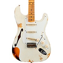 1956 Heavy Relic Thinline Stratocaster Electric Guitar Aged Olympic White Over Choc 2-Tone Sunburst