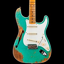 1956 Heavy Relic Thinline Stratocaster Electric Guitar Sea Foam Green Sparkle