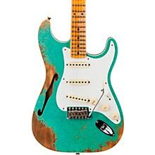 1956 Heavy Relic Thinline Stratocaster Electric Guitar Sea Foam Green Sparkle
