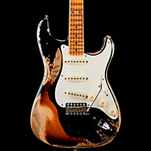 1957 Heavy Relic Stratocaster Electric Guitar Black over 2-Color Sunburst