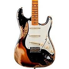 1957 Heavy Relic Stratocaster Electric Guitar Black over 2-Color Sunburst