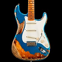 1957 Heavy Relic Stratocaster Electric Guitar Blue Sparkle over 2-Color Sunburst