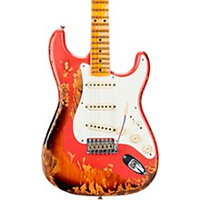 1957 Heavy Relic Stratocaster Electric Guitar Fiesta Red Over 2 Color Sunburst